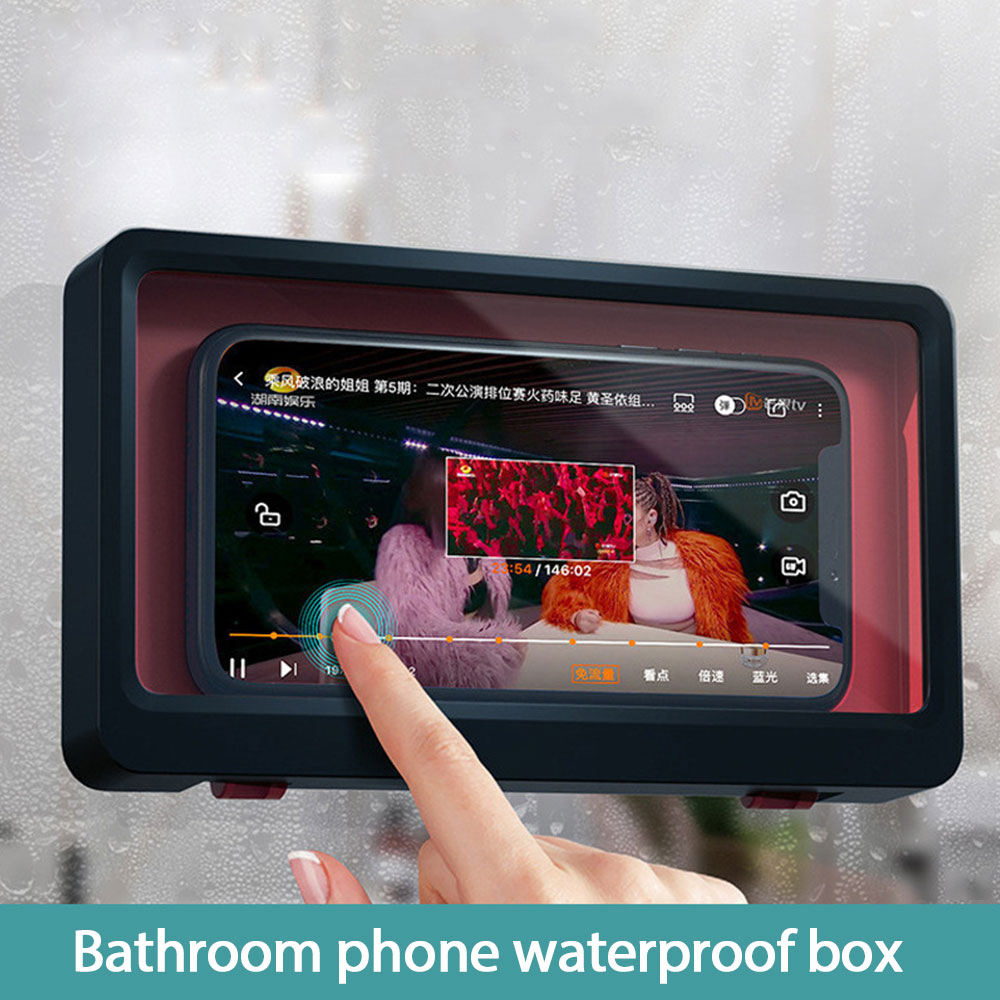 Shower Phone Holder Wall Mount Phone Case Bathroom Waterproof Phone Amount Shelf HD Anti-Fog Touch Screen Phone Box for Mobile Phones Under 6.8 inches